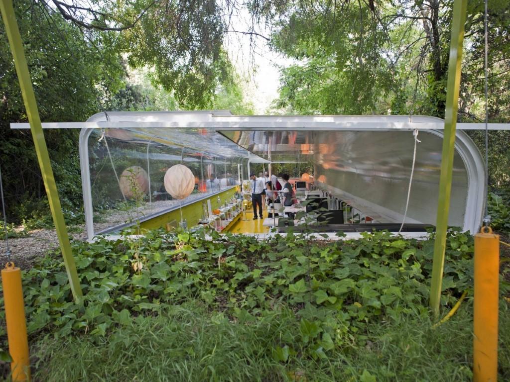 Oficina de cristal rodeada de naturaleza