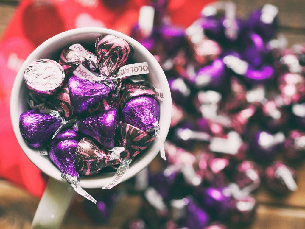 Detalle de caramelos kiss